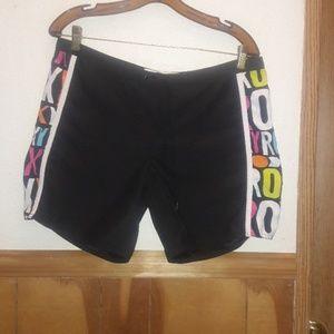 Roxy multi color colorful black swim board shorts